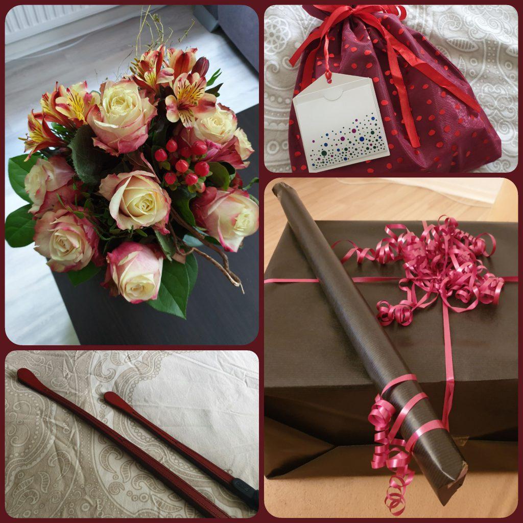 Geburtstagsgeschenke für Domina Miss Leonie: Blumen, Peitschen und Präsente mit roten Schleifen